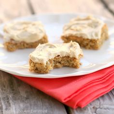 """Oatmeal Peanut Butter Bars (OMG! These are going in my """"family favorite's cook book""""! So amazing! The only thing I did differently was I added 1/2 tsp vanilla extract to the batter and I put about 1/2 of the frosting. A.Maz.Ing!  (Jacy)"""