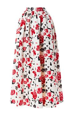 Shop Satin Rose-Print Midi Skirt by Msgm
