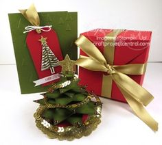 """Christmas Tree Exploding Box Gift Set! www.craftprojectcentral.com This gift set is perfect for a hostess, friend or co-worker. The box is easy and quick to make with Gift Box Punch Board. The lucky recipients will burst with excitement when they open the """"exploding"""" box and find the beautiful free-standing Christmas tree ornament inside! The tree can be removed from the box and used as a decoration for their desk or kept as a keepsake ornament to treasure for years to come."""