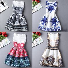 Hot sale New 2015 Europe and the United summer Fashion A-Line women casual vintage dresses printing sleeveless Vestidos dress