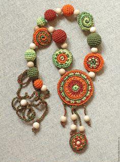 Boho Style Nursing necklace for breastfeeding Mom - Crochet pendant - Breastfeeding jewelry - Baby teether - Teething toy - navy color Crochet Necklace Pattern, Crochet Bracelet, Crochet Earrings, Love Crochet, Crochet Flowers, Knit Crochet, Textile Jewelry, Fabric Jewelry, Jewellery