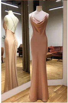 Long Satin Draped Top Sheath Prom Dresses Backless Mermaid - Welcome! Ball Dresses, Satin Dresses, Chiffon Dresses, Simple Prom Dress, Dress Long, Long Satin Dress, Satin Gown, Long Dress Formal, Simple Elegant Dresses