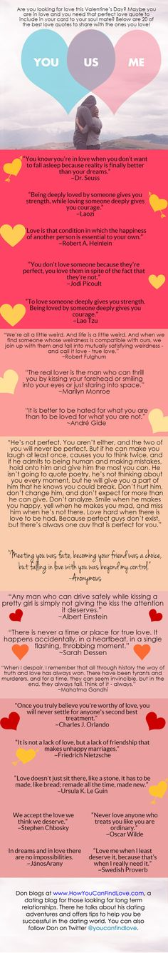 Are you looking for amazing quotes about love? I created this infographic highlighting my 20 favorite quotes. Trust me when I say they are amazing.