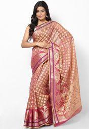 Supernet Cotton Fancy Contrast Zari Work Banarasi Magenta Saree