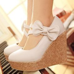 Alluring Closed Round Toe Mary Jean Wedges with Bow Beige | martofchina.com-Page Cached- For more amazing finds and inspiration visit us at http://www.brides-book.com