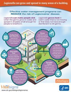 Legionella, the germ that can cause Legionnaires' disease, can grow and spread in many areas of a building. Effective water management programs can reduce the risk for this serious illness.