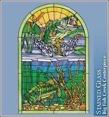Big Fish Creek stained glass design Wallpaper For Windows Centerpiece Made in US   $29.95