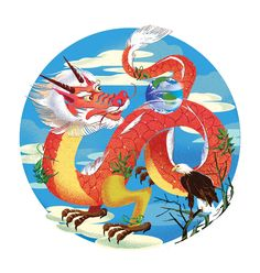 Jenn Liv Illustration - Dragon and the Earth for Corporate Knights Climate Change, Rooster, Dragon, Animation, Knights, Gallery, Illustration, Artist, Earth