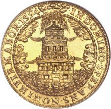 Salzburg. Wolf Dietrich Von Raitenau (1587-1612) gold 8 Ducats 1594, Tower in storm with waves, wind, and hail, with the date / St. Rudbertus and St. Virgilius supporting an oval shield, Wolf Dietrich Von Raitenau was the Archbishop of Salzburg from 1587-1612. He was highly educated, a great art collector and builder. He is highly responsible for the Baroque appearance of Salzburg.  He died at the hands of his nephew in 1612.  An important gold rarity, with a wonderful design