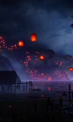Sky Aesthetic, Aesthetic Japan, Aesthetic Anime, Anime Scenery Wallpaper, Nature Wallpaper, Wallpaper Backgrounds, Fantasy Art Landscapes, Fantasy Landscape, 480x800 Wallpaper