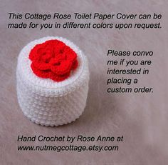 Red Rose Crochet Toilet Paper Cover. Cottage Style Flower Cozy. Are you looking for a way to spice up your bathroom? Decorate with this bright new accessory. It will neatly hide that spare roll, and it is large enough to accommodate a double-sized one. Your guests will appreciate not having to ask for another roll of toilet tissue when the old roll runs out. A retro idea made modern by me.  So versatile. Lovely storage idea for a variety of items. This beautiful red rose crochet bathroom…