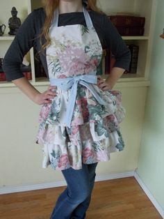 Ladies Triple Tiered Apron Made From Vintage by Vintage Sheets, Cotton Sheets, Vintage Cotton, Aprons, Awesome, Amazing, Content, Sewing, Lady