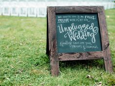 Having an unplugged wedding ceremony has its pros—but if you or your partner aren't totally sold on the idea, here's a good compromise. Unplugged Wedding Sign, Wedding Ceremony Script, Wedding Ceremony Decorations, Wedding Signage, Wedding Ceremonies, Wedding Trends, Fall Wedding, Our Wedding, Wedding Ideas