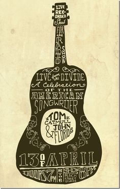 Gig Posters are the coolest and most inspiring art out there. Gig Posters are an awesome mix of modern and vintage art, with a dose of advertisement. Guitar Posters, Band Posters, Concert Posters, Music Posters, Graphic Design Typography, Lettering Design, Typography Fonts, Music Illustration, Illustrations