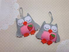 Felt owl-Owl ornaments--Owl decor-Hanging ornament-Pink owl-Gray owl-Felt animals-Nursery decor-Nursery owl-Baby owl-Owls by SnowFelts on Etsy https://www.etsy.com/listing/510639791/felt-owl-owl-ornaments-owl-decor-hanging
