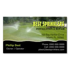 lawn sprinkler landscaping business card - Landscaping Business Cards