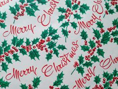 Vintage Christmas Wrapping Paper - Merry Christmas Wishes and Festive Holly Leaves - 1 Unused Full Sheet Gift Wrap