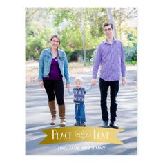 Modern Gold Banner Peace and Joy Photo Postcard - merry christmas postcards postal family xmas card holidays diy personalize