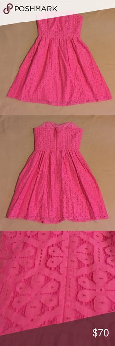 """Lilly Pulitzer Payton Dress Daisy Lane Lace Only worn once. Payton Dress in """"Fiesta Pink Daisy Lane Lace."""" Sweetheart neckline. Floral lace. Bust is 15 inches, waist is 13 inches, and length is 27 inches.   Comes from a pet-free and smoke-free home.  Discount on bundles.  Offers are welcome.  No trades. Lilly Pulitzer Dresses Mini"""