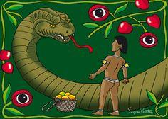O ataque de Jurupari ao curumim. Jurupari era um espírito do mal, que se transformou em uma enorme serpente, e picou o pequeno curumim que morreu rapidamente.