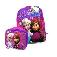 "Disney Frozen Anna Elsa School 16"" Backpack SET insulated Lunch Pail School Bag  #Disney #BackpackLunchBagCombo"
