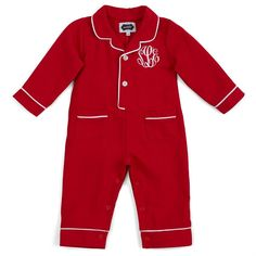 Flame resistant polyester flannel pajama one-piece features white piping  trim 697088081