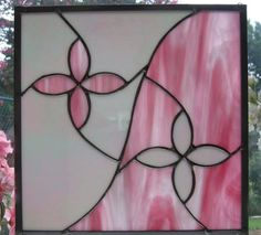 White Iridescent and Pink Stained Glass Panel van Nanantz op Etsy
