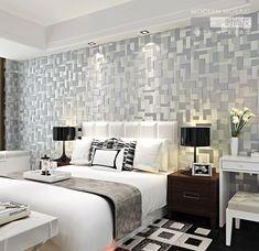 grey 3D nonwoven mosaic modern minimalist backdrop wallpaper Room 10m
