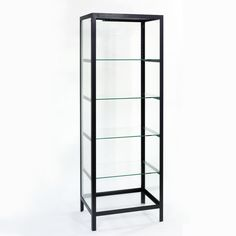 Schneewittchen Vitrine ohne Tür, Rahmen Eisen lackiert schwarz, Glas mit Facetteschliff, mit 4 Einlegeböden Glas, höhenverstellbar, 75 x 55 x …
