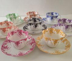 Shelley Dainty Rainbow Set Teapot, Tea Cups & Saucers