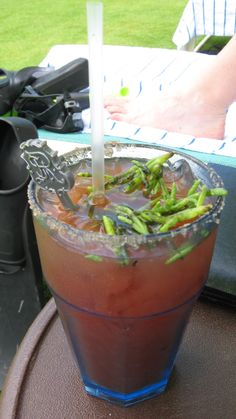 The St. Regis in Manhattan invented the Red Snapper, what we know today as the Bloody Mary.  Here is the St. Regis Princeville's version, with sea asparagus garnish.  Chucked the garnish, chugged the Snapper.