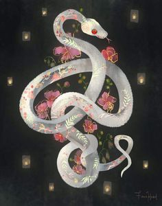 """fionahsieh: """" fionahsieh: """"full bloom © fiona hsieh """" art prints, phone cases, and other stuff of this is now up for grabs in my. Art Inspo, Kunst Inspo, Art And Illustration, Desu Desu, Snake Art, Art Design, Graphic Design, Dark Art, Oeuvre D'art"""