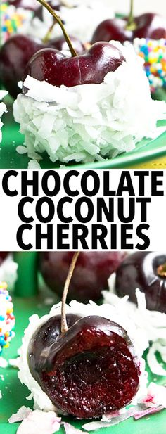 Easy homemade CHOCOLATE COVERED CHERRIES covered in coconut and sprinkles. These chocolate dipped cherries are great as a homemade gift. From cakewhiz.com
