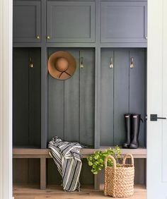 This warm wood and deep grey colored mudroom designed by couldn't be more inviting. This warm wood and deep grey colored mudroom designed by couldn't be more inviting. Laundry Mud Room, Mudroom Cabinets, Boot Room, House Design, Interior, Mudroom Lockers, Mudroom Design, Entryway Decor, Home Decor
