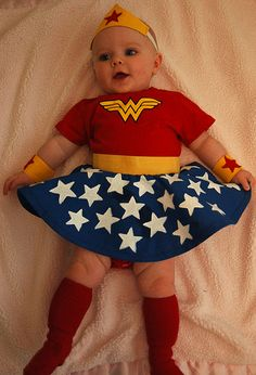 EEEEEE! Look at those leg dimples! Cute Wonder Woman costume for a little girl