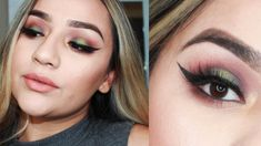 Green and Gold Eyeshadow | NYX In Your Element Earth Palette - YouTube | Eyeshadow for brown eyes| Fall Eyemakeup looks | brown and green eyeshadow look | Olive green and red eyeshadow makeup