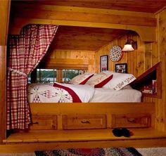 Bed Nook (eclectic bedroom by Lands End Development - Designers & Builders) Alcove Bed, Bed Nook, Bedroom Nook, Bedroom Ideas, Built In Bunks, Built In Bed, Cabin Loft, Cozy Cabin, Cozy Nook