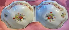 Pretty In Pink-Limoges Sectioned Handled Tray With Pink Bows