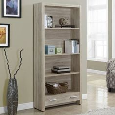 Monarch 71 in. Bookcase with Drawer