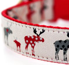 This is Moose's Christmas season collar.  Why wouldn't Moose wear a collar with Mooses - what is the plural of moose? by daydogdesigns on Etsy