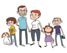 cartoon family portrait - Google Search