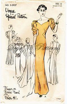 Vogue S3937 Vintage 1930s Bridal or Dinner Gown Sewing Pattern by DejaVuPatterns