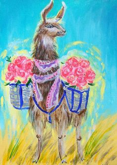 Items similar to Llama with flowers original acrylic painting Nursery decor wall art for kids alpaka fluffy animal baby shower gift meaningful gift on Etsy Funny Paintings, Animal Paintings, Original Paintings, Llama Arts, Flower Nursery, Nursery Paintings, Nursery Room Decor, Happy Art, Fluffy Animals