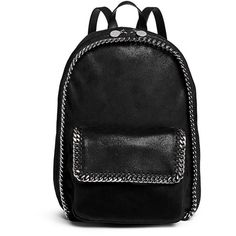 Stella Mccartney 'Falabella' shaggy deer chain backpack (40.910 UYU) ❤ liked on Polyvore featuring bags, backpacks, accessories, purses, black, woven bag, stella mccartney, faux-leather backpack, fake bags and faux-leather bags