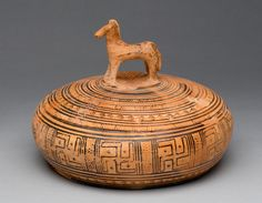 Greek  [Attic, Geometric Period]. Horse Pyxis (circular box, probably for cosmetics)  ca. 760–735 BC.
