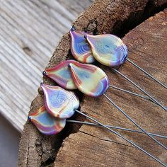 6 Multi Color Glass Wire Headpins Lampwork Beads by NadinArtGlass, $12.00
