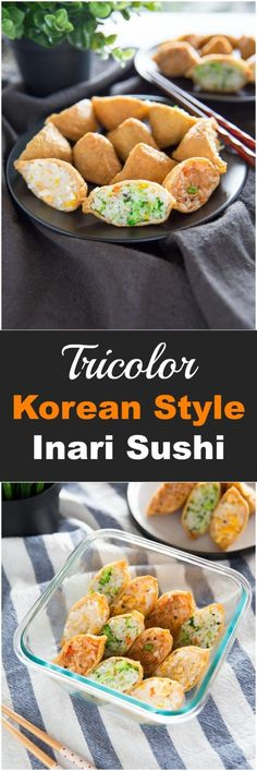 Yubuchobap (Korean Style Inari Sushi) Korean Style Inari Sushi (Sushi Stuffed in Fried Bean Curd Pockets) Sushi Recipes, Asian Recipes, Cooking Recipes, Vegan Sushi, Sushi Sushi, Fried Sushi, Sushi Rolls, Korean Diet, Korean Food