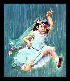 FRANCES TIPTON HUNTER (1896-1957) FLOWER GIRL IN A DOWN POUR-CALENDAR ART PRINT | eBay