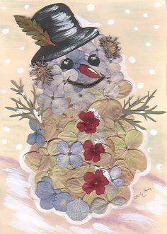pressed flower snowman