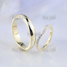 Обручальные кольца из жёлтого золота с бриллиантами в женском кольце (Вес  пары 10 гр. 7a789e49e28
